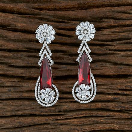 415049 Cz Classic Earring With Rhodium Plating