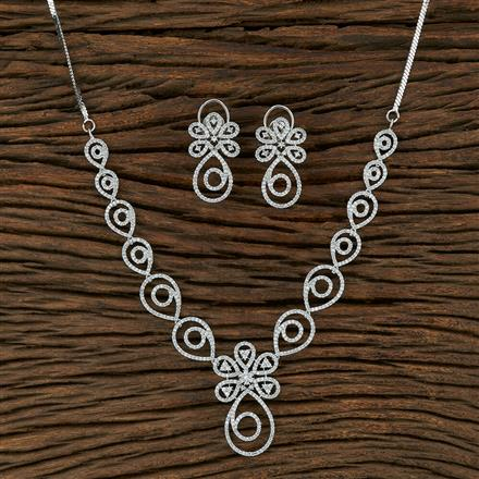 415073 Cz Classic Necklace With Rhodium Plating