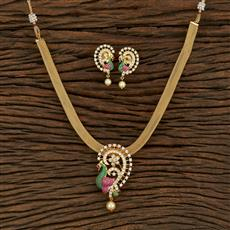 415076 Cz Peacock Pendant Set With Gold Plating