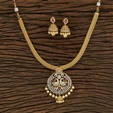 415081 Cz Peacock Pendant Set With Gold Plating