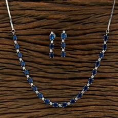 415103 Cz Classic Necklace With Rhodium Plating
