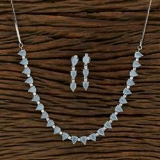 415108 Cz Classic Necklace With Rhodium Plating