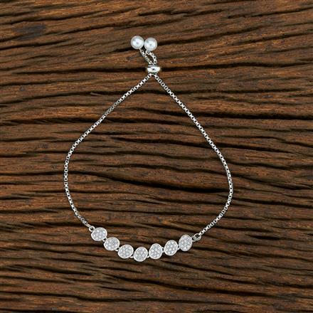 415123 Cz Adjustable Bracelet With Rhodium Plating