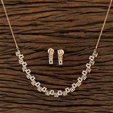 415128 Cz Classic Necklace With Rose Gold Plating