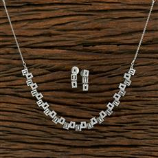 415129 Cz Classic Necklace With Rhodium Plating