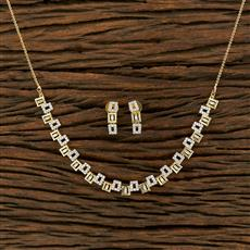 415130 Cz Classic Necklace With 2 Tone Plating