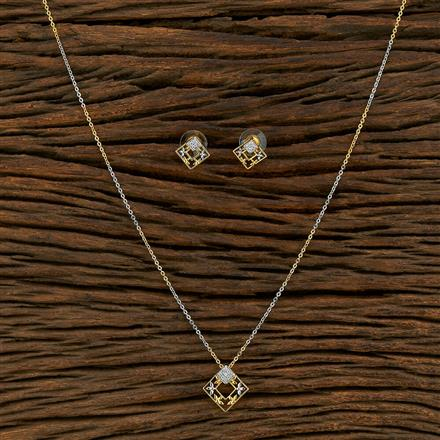 415132 Cz Delicate Pendant Set With 2 Tone Plating
