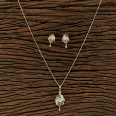 415133 Cz Delicate Pendant Set With 2 Tone Plating