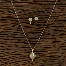 415136 Cz Delicate Pendant Set With 2 Tone Plating
