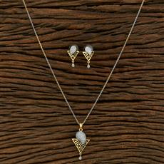 415138 Cz Delicate Pendant Set With 2 Tone Plating
