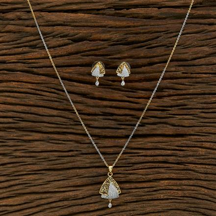 415139 Cz Delicate Pendant Set With 2 Tone Plating