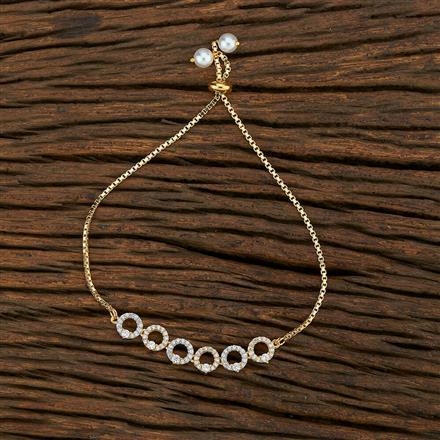 415173 Cz Adjustable Bracelet With 2 Tone Plating