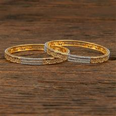 415180 Cz Classic Bangles With 2 Tone Plating
