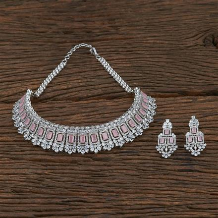415190 Cz Choker Necklace With Rhodium Plating