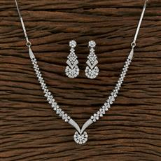 415222 Cz Classic Necklace With Rhodium Plating