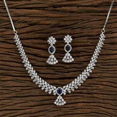 415224 Cz Classic Necklace With Rhodium Plating