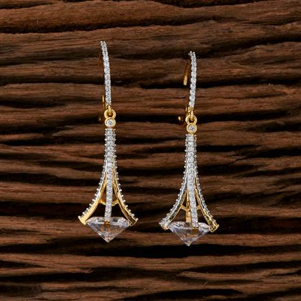 415230 Cz Classic Earring With 2 Tone Plating