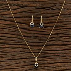 415233 Cz Delicate Pendant Set With Gold Plating