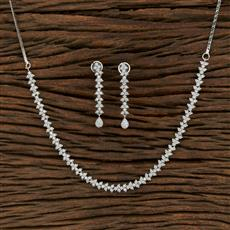 415237 Cz Delicate Necklace With Rhodium Plating