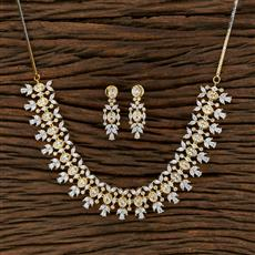 415239 Cz Classic Necklace With 2 Tone Plating