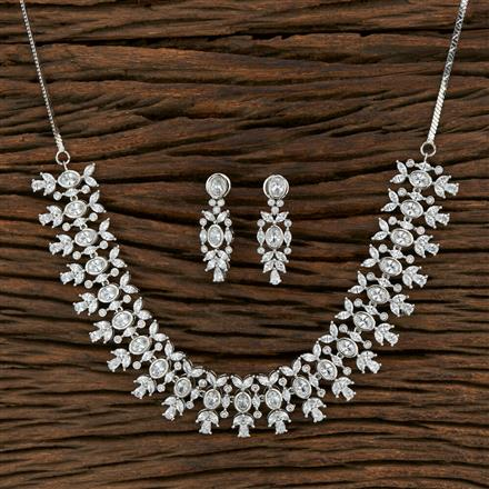 415240 Cz Classic Necklace With Rhodium Plating