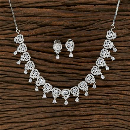 415242 Cz Classic Necklace With Rhodium Plating
