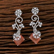 415245 Cz Classic Earring With Rhodium Plating