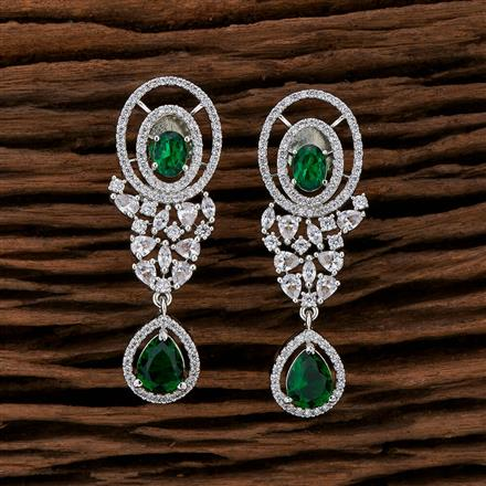 415247 Cz Classic Earring With Rhodium Plating