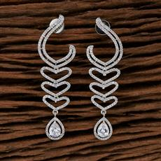 415249 Cz Classic Earring With Rhodium Plating
