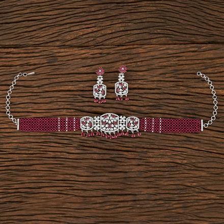 415261 Cz Mala Necklace With Rhodium Plating