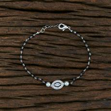 415355 Cz Hand Mangalsutra Bracelet With Rhodium Plating