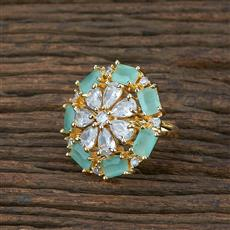 415362 Cz Classic Ring With Gold Plating