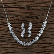 415365 Cz Classic Necklace With Rhodium Plating