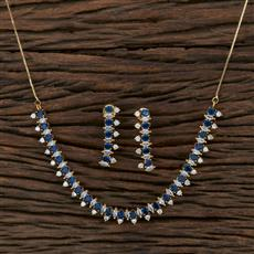 415368 Cz Classic Necklace With Gold Plating