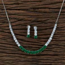 415369 Cz Classic Necklace With Rhodium Plating