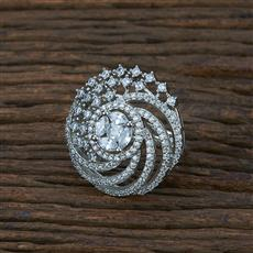 415372 Cz Classic Ring With Rhodium Plating