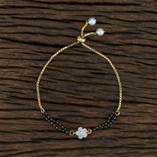 415387 Cz Hand Mangalsutra Bracelet With 2 Tone Plating