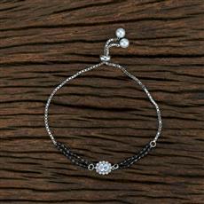415390 Cz Hand Mangalsutra Bracelet With Rhodium Plating