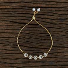 415394 Cz Adjustable Bracelet With Gold Plating