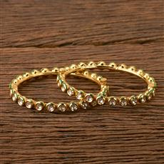 41544 Kundan Openable Bangles with gold plating