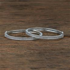 415457 Cz Openable Bangles With Rhodium Plating