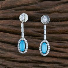 415461 Cz Short Earring With Rhodium Plating