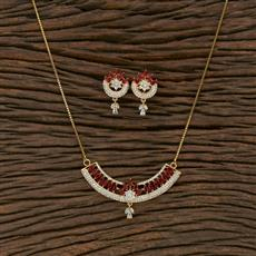 415465 Cz Classic Pendant Set With Gold Plating