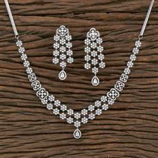 415484 Cz Classic Necklace With Rhodium Plating