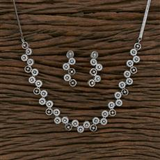 415489 Cz Classic Necklace With Rhodium Plating