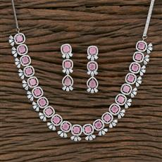 415490 Cz Classic Necklace With Rhodium Plating