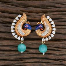 415494 Cz Peacock Earring With Gold Plating