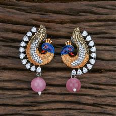 415495 Cz Peacock Earring With Black Plating