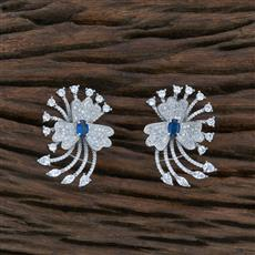 415496 Cz Short Earring With Rhodium Plating