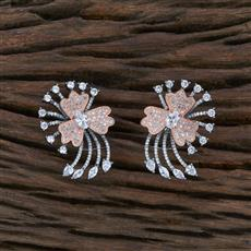 415497 Cz Short Earring With Black Rose Plating